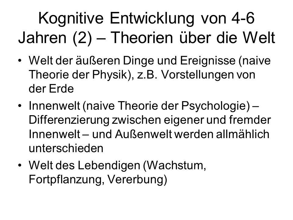 Kognitive Entwicklung von 4-6 Jahren (2) – Theorien über die Welt Welt der äußeren Dinge und Ereignisse (naive Theorie der Physik), z.B. Vorstellungen