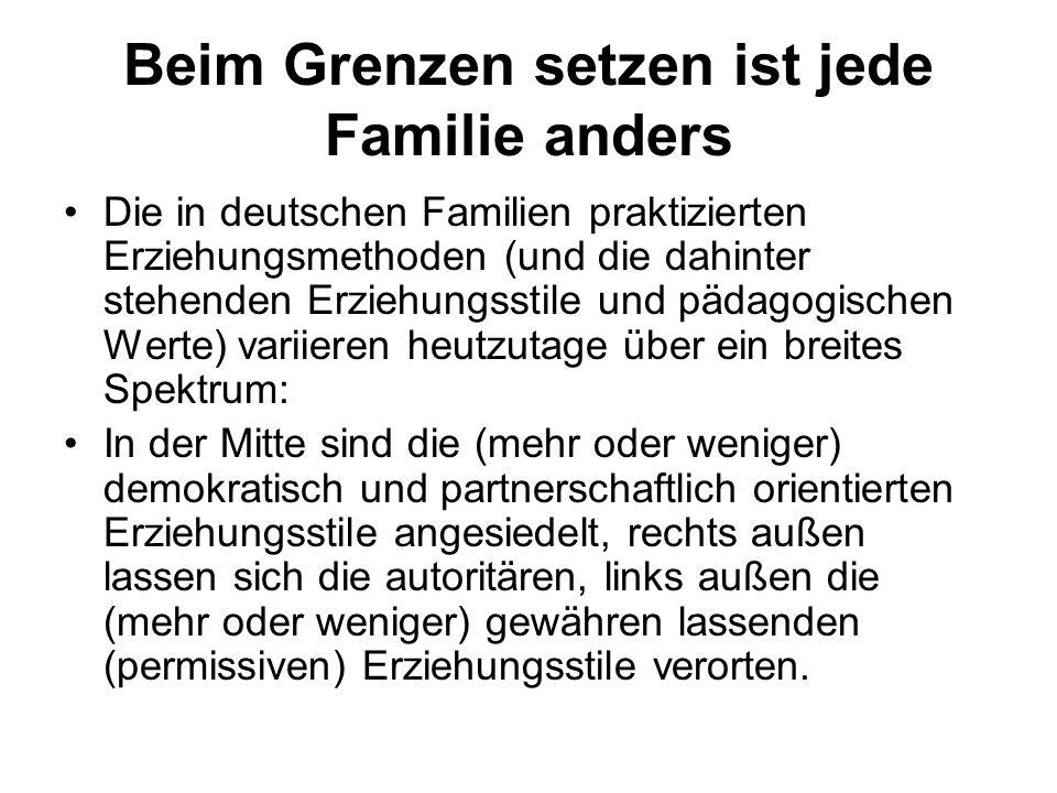 Beim Grenzen setzen ist jede Familie anders Die in deutschen Familien praktizierten Erziehungsmethoden (und die dahinter stehenden Erziehungsstile und