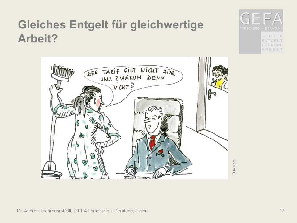 © Mapo Dr. Andrea Jochmann-Döll, GEFA Forschung + Beratung, Essen 17 Gleiches Entgelt für gleichwertige Arbeit?