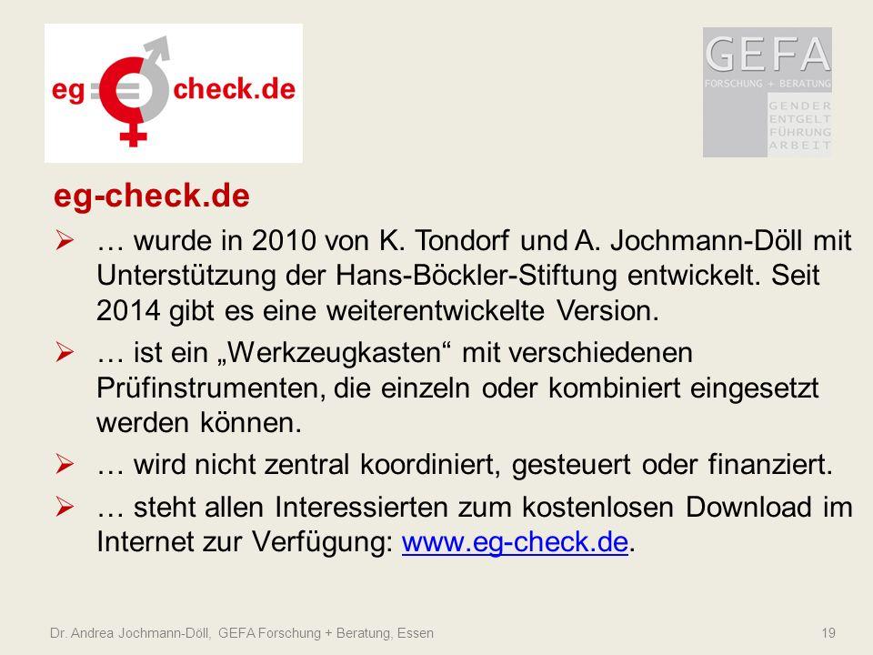 eg-check.de  … wurde in 2010 von K. Tondorf und A. Jochmann-Döll mit Unterstützung der Hans-Böckler-Stiftung entwickelt. Seit 2014 gibt es eine weite