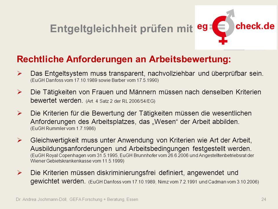 Dr. Andrea Jochmann-Döll, GEFA Forschung + Beratung, Essen 24 Rechtliche Anforderungen an Arbeitsbewertung:  Das Entgeltsystem muss transparent, nach