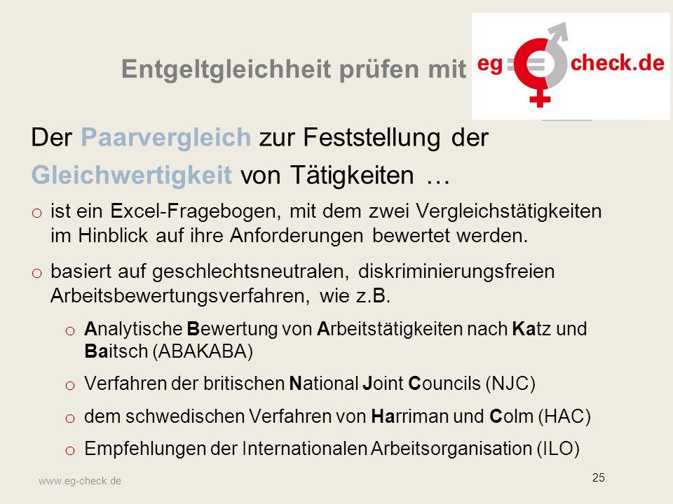 www.eg-check.de 25 Der Paarvergleich zur Feststellung der Gleichwertigkeit von Tätigkeiten … o ist ein Excel-Fragebogen, mit dem zwei Vergleichstätigkeiten im Hinblick auf ihre Anforderungen bewertet werden.