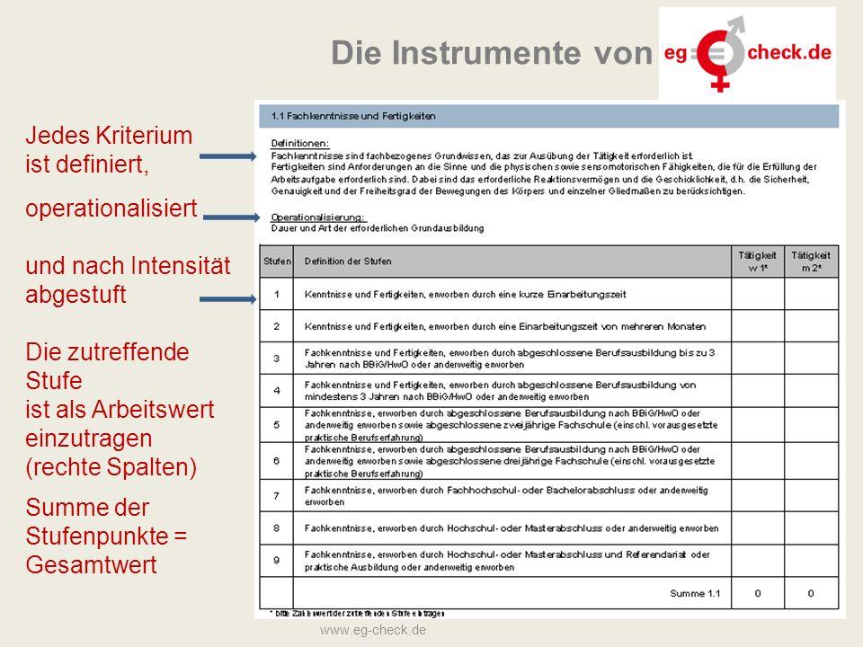 27 Jedes Kriterium ist definiert, operationalisiert und nach Intensität abgestuft Die zutreffende Stufe ist als Arbeitswert einzutragen (rechte Spalten) Summe der Stufenpunkte = Gesamtwert www.eg-check.de Die Instrumente von
