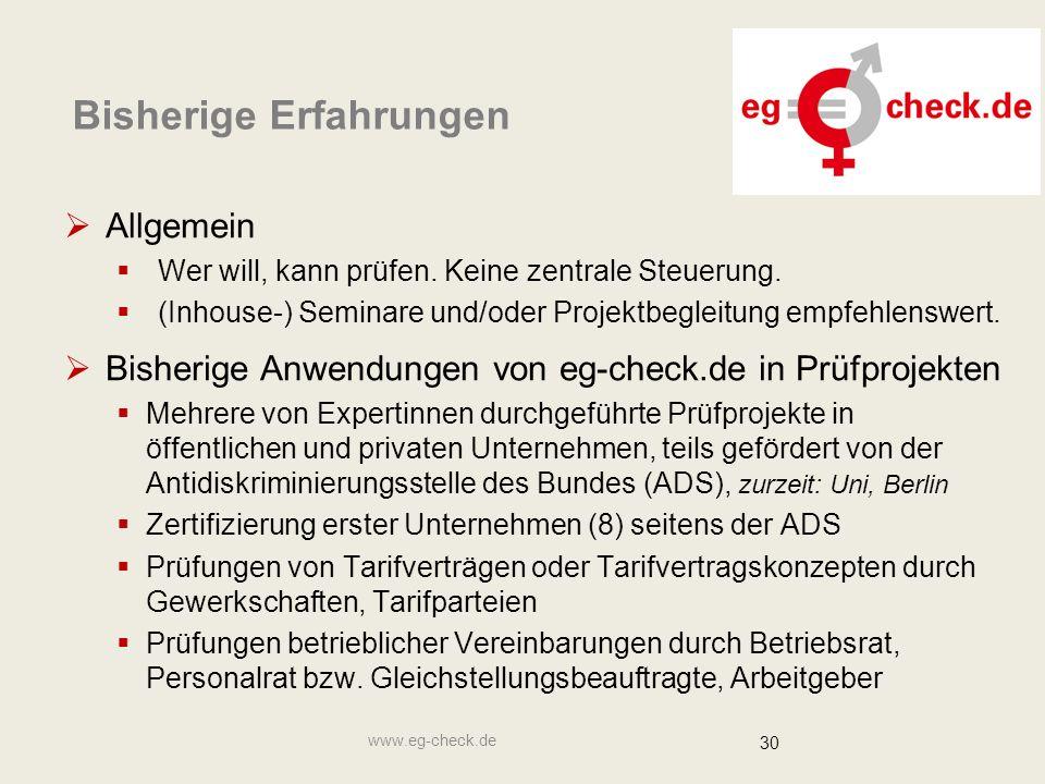 www.eg-check.de 30 Bisherige Erfahrungen  Allgemein  Wer will, kann prüfen.