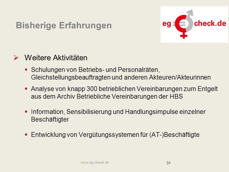 www.eg-check.de 31 Bisherige Erfahrungen  Weitere Aktivitäten  Schulungen von Betriebs- und Personalräten, Gleichstellungsbeauftragten und anderen A
