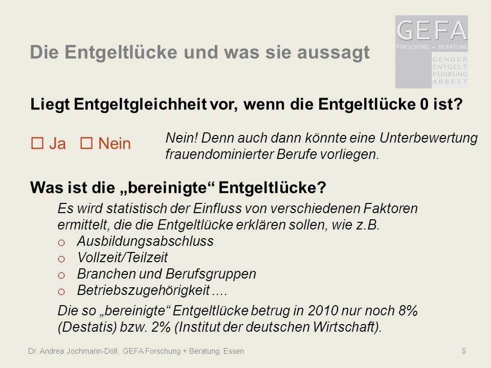 """Dr. Andrea Jochmann-Döll, GEFA Forschung + Beratung, Essen5 Was ist die """"bereinigte"""" Entgeltlücke? Es wird statistisch der Einfluss von verschiedenen"""