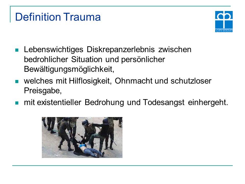 Definition Trauma Lebenswichtiges Diskrepanzerlebnis zwischen bedrohlicher Situation und persönlicher Bewältigungsmöglichkeit, welches mit Hilflosigkeit, Ohnmacht und schutzloser Preisgabe, mit existentieller Bedrohung und Todesangst einhergeht.