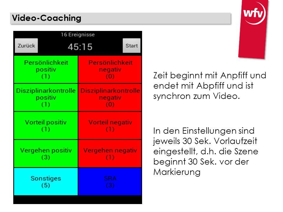 Video-Coaching Zeit beginnt mit Anpfiff und endet mit Abpfiff und ist synchron zum Video. In den Einstellungen sind jeweils 30 Sek. Vorlaufzeit einges