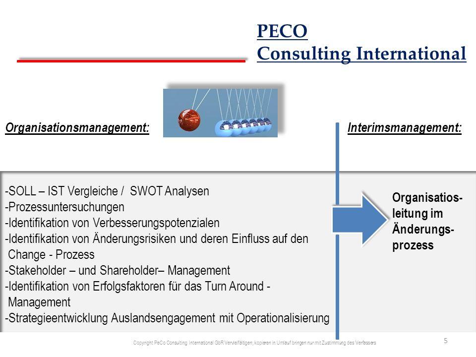 Business Development: -Monitoring von Branchen und Märkten -Identifikation von branchenspezifischen Technologien und Trends -Ableitung von Handlungsbedarfen und Strategie-Entwicklung -Erarbeiten von neuen Geschäftsmodellen und deren Bewertung hinsichtlich Aufwand versus Erfolgspotenzial -Projektierung und Pilotierung -Implementierung und Operationalisierung -Fortschritts-Monitoring Interimsmanagement: Leitung Business Development Aktivitäten 6 PECO Consulting International Copyright PeCo Consulting International GbR Vervielfältigen, kopieren in Umlauf bringen nur mit Zustimmung des Verfassers
