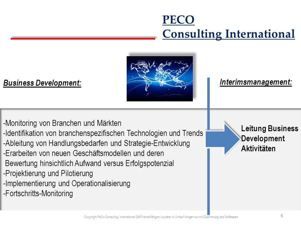 Business Development: -Monitoring von Branchen und Märkten -Identifikation von branchenspezifischen Technologien und Trends -Ableitung von Handlungsbe