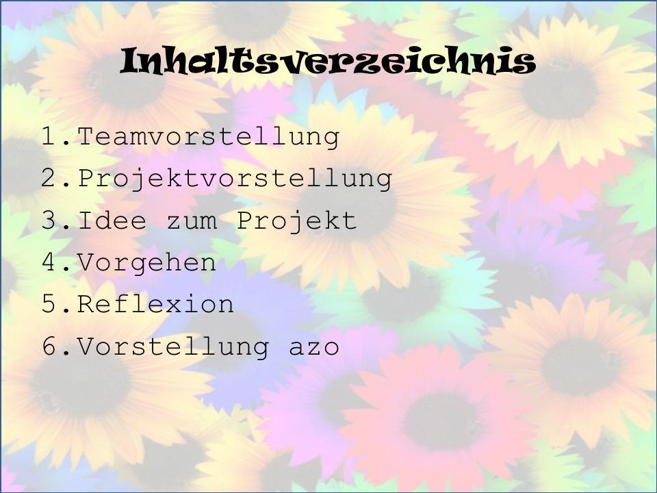 Inhaltsverzeichnis 1.Teamvorstellung 2.Projektvorstellung 3.Idee zum Projekt 4.Vorgehen 5.Reflexion 6.Vorstellung azo