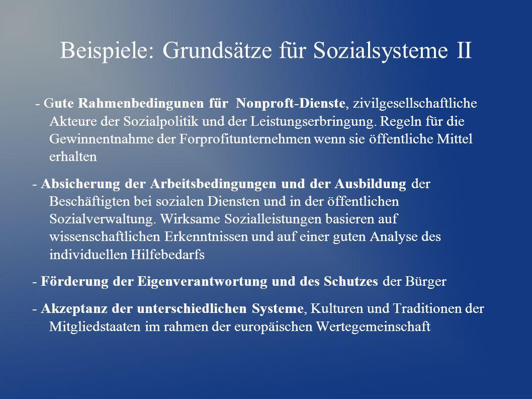 Beispiele: Grundsätze für Sozialsysteme II - Gute Rahmenbedingunen für Nonproft-Dienste, zivilgesellschaftliche Akteure der Sozialpolitik und der Leistungserbringung.