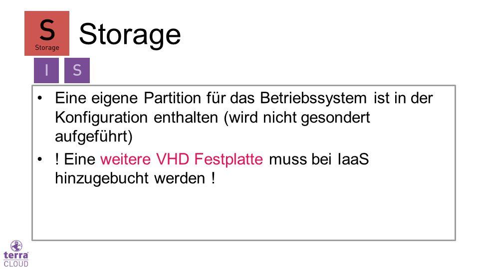 Eine eigene Partition für das Betriebssystem ist in der Konfiguration enthalten (wird nicht gesondert aufgeführt) ! Eine weitere VHD Festplatte muss b