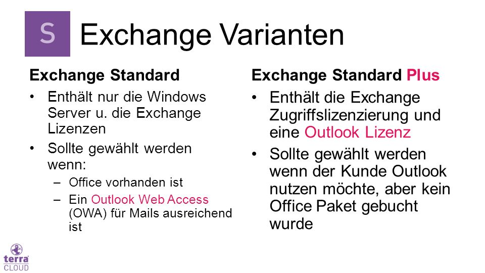 Exchange Standard Enthält nur die Windows Server u.