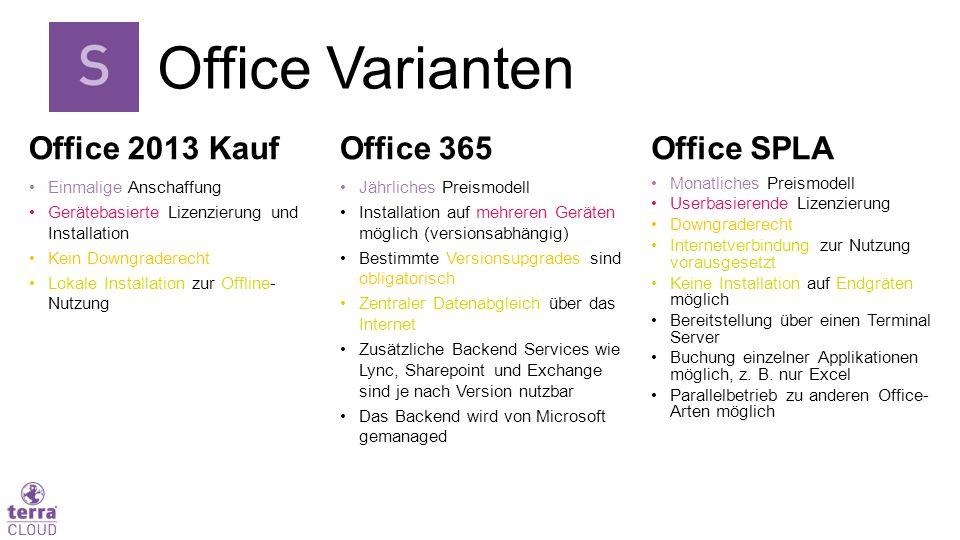 Office 2013 Kauf Einmalige Anschaffung Gerätebasierte Lizenzierung und Installation Kein Downgraderecht Lokale Installation zur Offline- Nutzung Offic