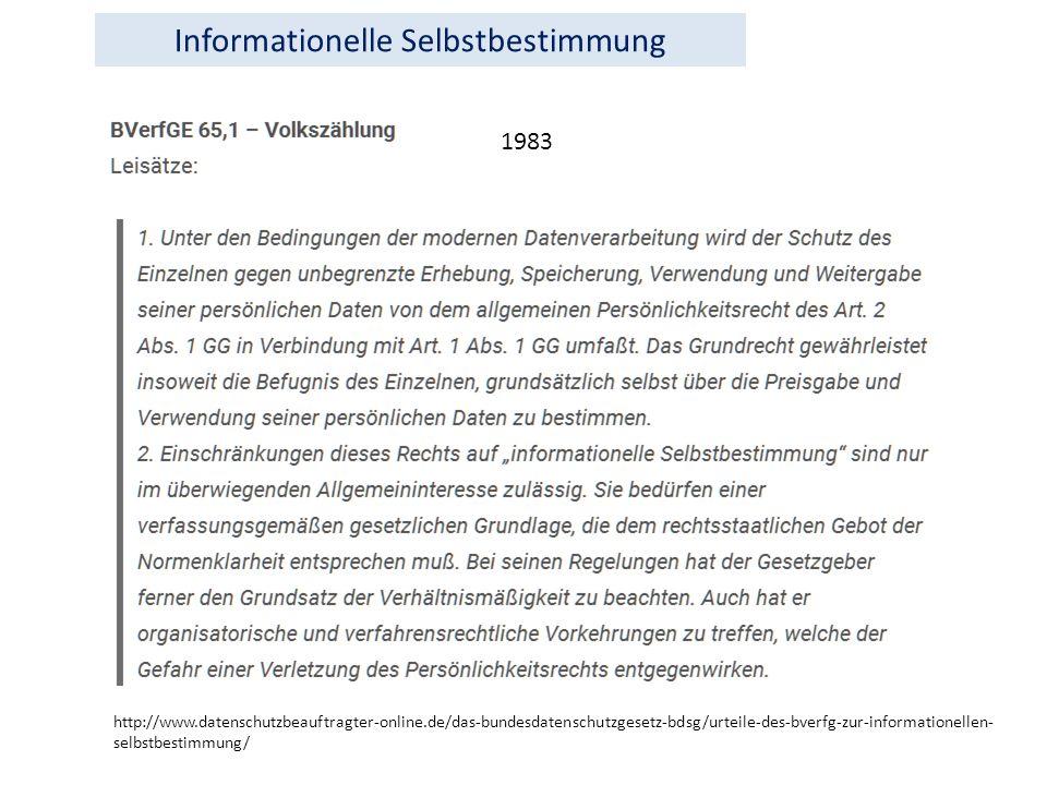 http://www.datenschutzbeauftragter-online.de/das-bundesdatenschutzgesetz-bdsg/urteile-des-bverfg-zur-informationellen- selbstbestimmung/ 1983 Informationelle Selbstbestimmung