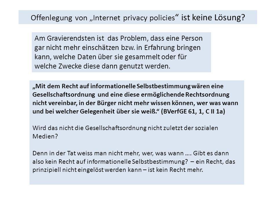 """Offenlegung von """"Internet privacy policies ist keine Lösung."""