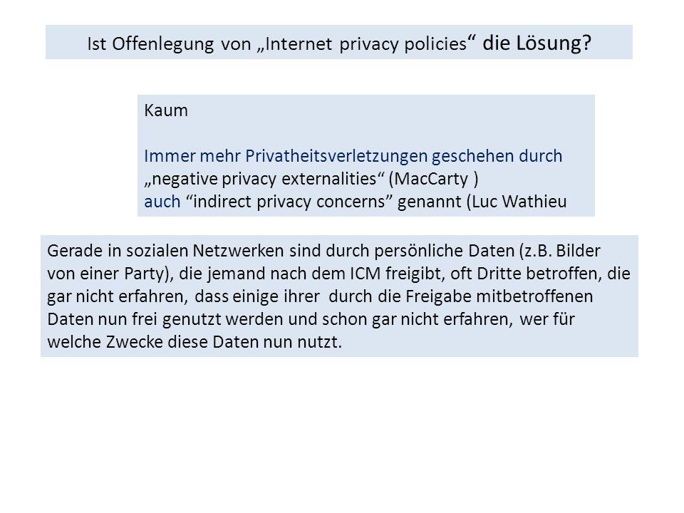 """Ist Offenlegung von """"Internet privacy policies die Lösung."""