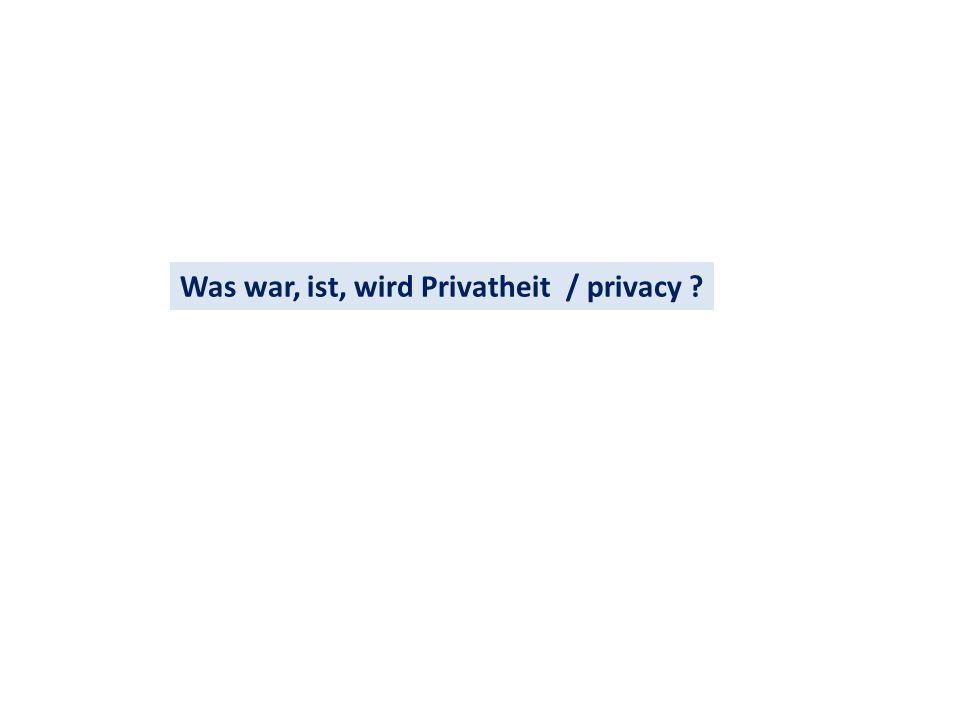 Was war, ist, wird Privatheit / privacy