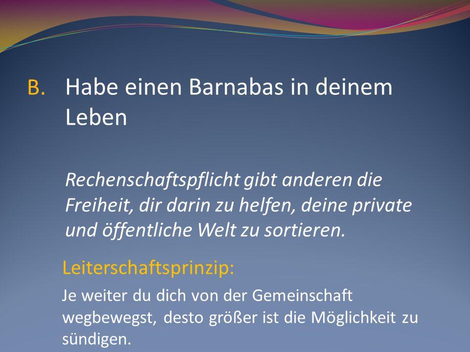 B. Habe einen Barnabas in deinem Leben Rechenschaftspflicht gibt anderen die Freiheit, dir darin zu helfen, deine private und öffentliche Welt zu sort
