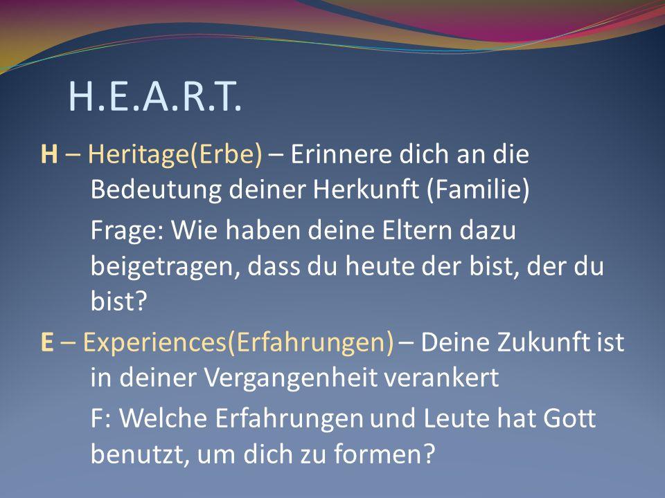 H.E.A.R.T. H – Heritage(Erbe) – Erinnere dich an die Bedeutung deiner Herkunft (Familie) Frage: Wie haben deine Eltern dazu beigetragen, dass du heute