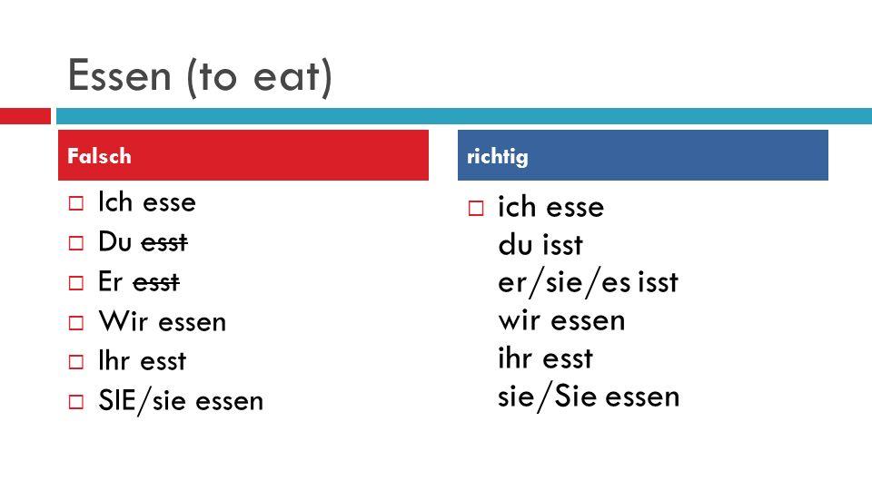 Essen (to eat)  Ich esse  Du esst  Er esst  Wir essen  Ihr esst  SIE/sie essen  ich esse du isst er/sie/es isst wir essen ihr esst sie/Sie essen Falschrichtig