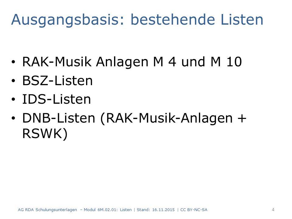 Ausgangsbasis: bestehende Listen RAK-Musik Anlagen M 4 und M 10 BSZ-Listen IDS-Listen DNB-Listen (RAK-Musik-Anlagen + RSWK) 4 AG RDA Schulungsunterlagen – Modul 6M.02.01: Listen | Stand: 16.11.2015 | CC BY-NC-SA