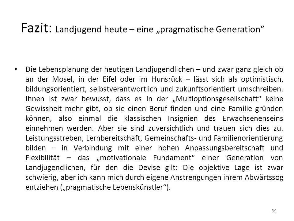 """Fazit: Landjugend heute – eine """"pragmatische Generation"""" Die Lebensplanung der heutigen Landjugendlichen – und zwar ganz gleich ob an der Mosel, in de"""