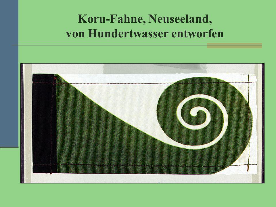 Koru-Fahne, Neuseeland, von Hundertwasser entworfen