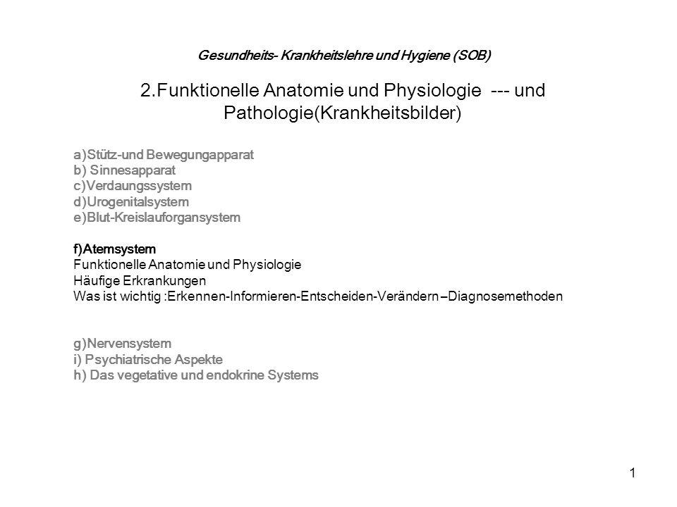 1 Gesundheits- Krankheitslehre und Hygiene (SOB) 2.Funktionelle Anatomie und Physiologie --- und Pathologie(Krankheitsbilder) a)Stütz-und Bewegungappa