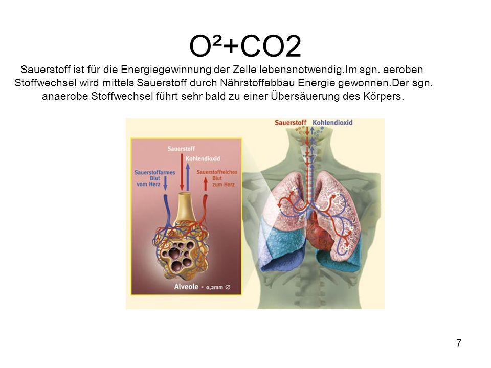 7 O²+CO2 Sauerstoff ist für die Energiegewinnung der Zelle lebensnotwendig.Im sgn. aeroben Stoffwechsel wird mittels Sauerstoff durch Nährstoffabbau E