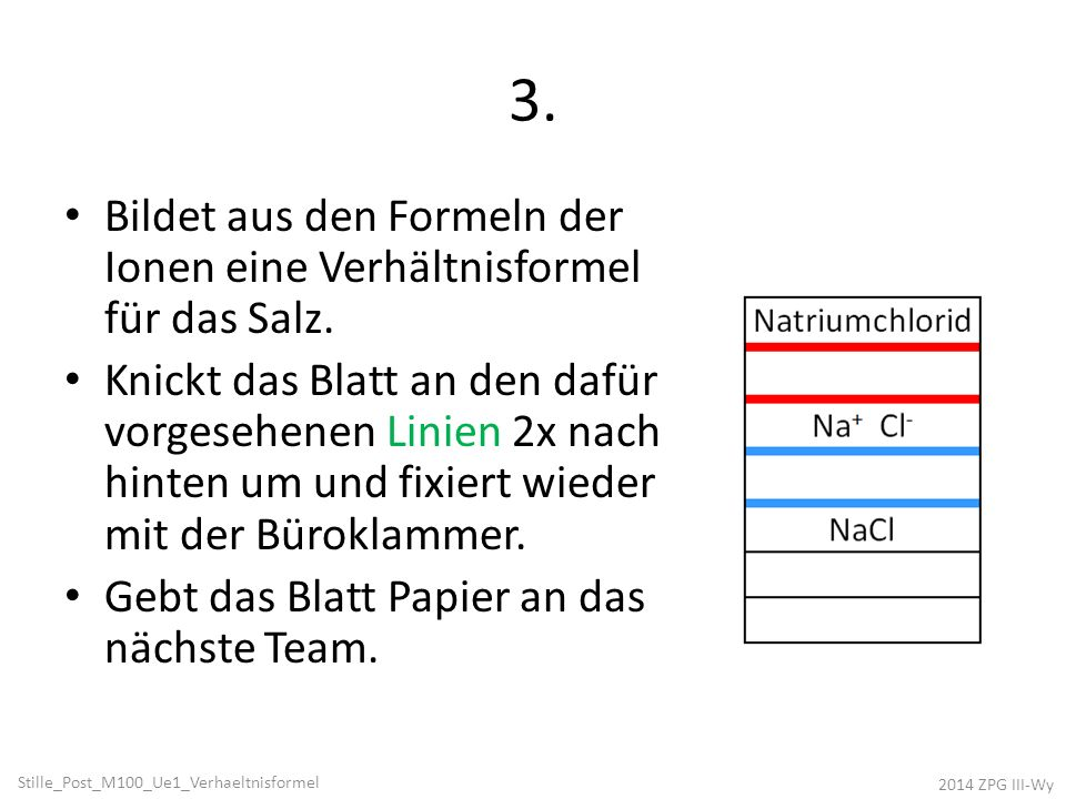 3. Bildet aus den Formeln der Ionen eine Verhältnisformel für das Salz.