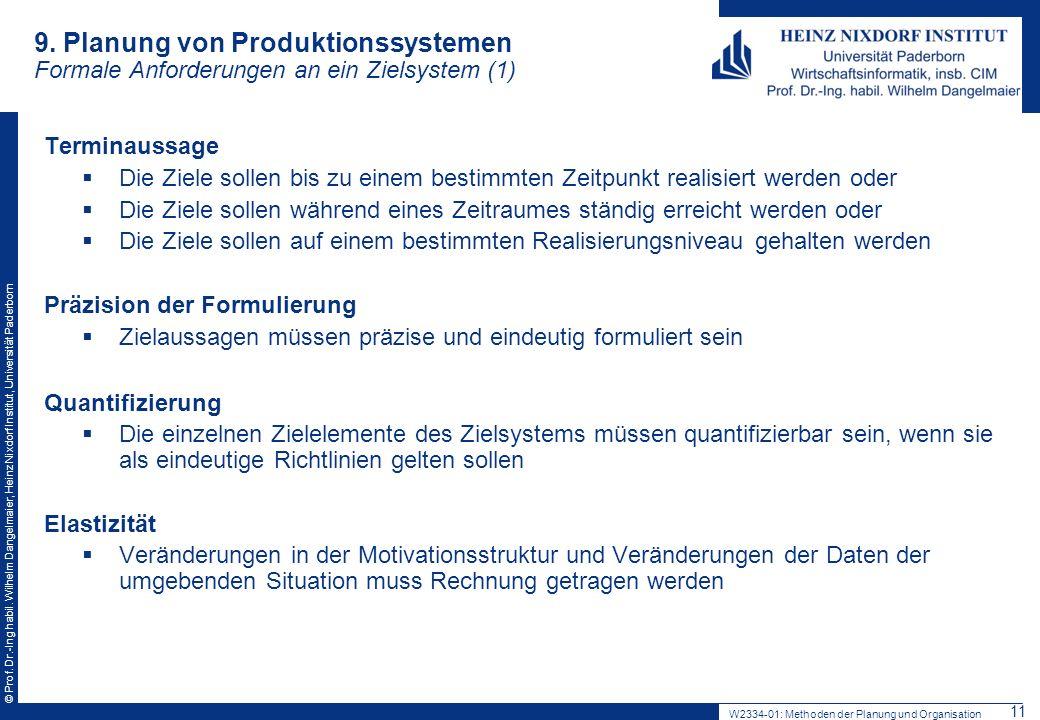 © Prof. Dr.-Ing habil. Wilhelm Dangelmaier, Heinz Nixdorf Institut, Universität Paderborn 9.