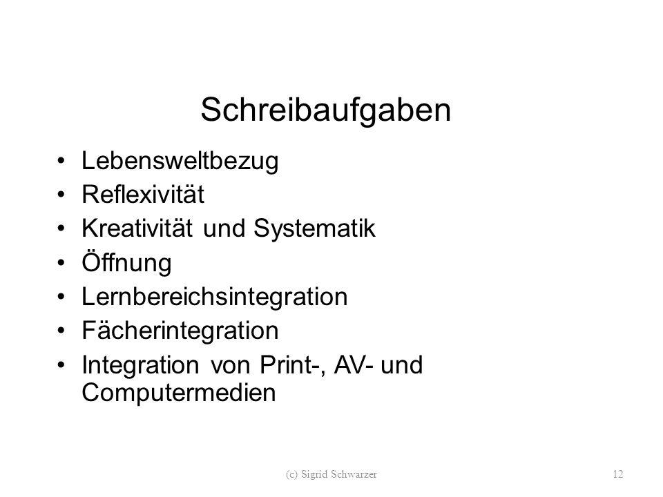 Schreibaufgaben Lebensweltbezug Reflexivität Kreativität und Systematik Öffnung Lernbereichsintegration Fächerintegration Integration von Print-, AV- und Computermedien (c) Sigrid Schwarzer12