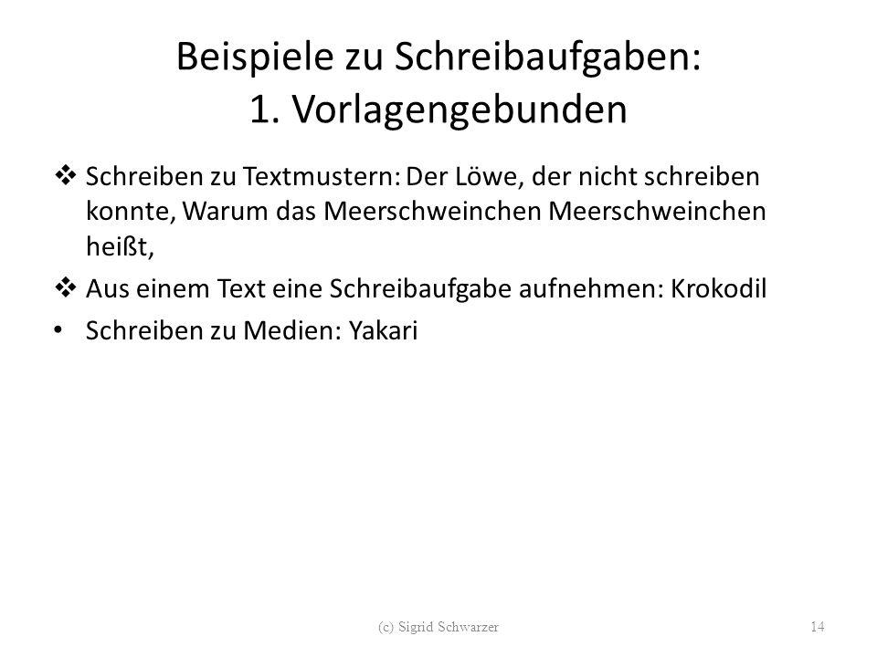 Beispiele zu Schreibaufgaben: 1. Vorlagengebunden  Schreiben zu Textmustern: Der Löwe, der nicht schreiben konnte, Warum das Meerschweinchen Meerschw