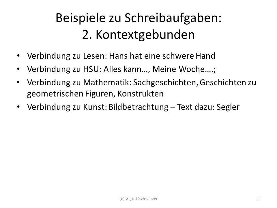 Beispiele zu Schreibaufgaben: 2. Kontextgebunden Verbindung zu Lesen: Hans hat eine schwere Hand Verbindung zu HSU: Alles kann…, Meine Woche….; Verbin