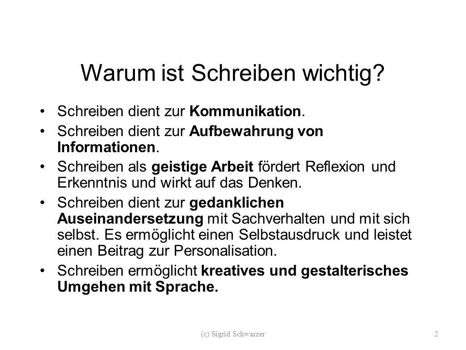 """Schreiben """"Schreiben lernt man am nachhaltigsten durch Schreiben, durch das gemeinsame Nachdenken über Schreibhandlungen und deren Organisation in Schreibprozessen. (BAURMANN, 2002) (c) Sigrid Schwarzer23"""