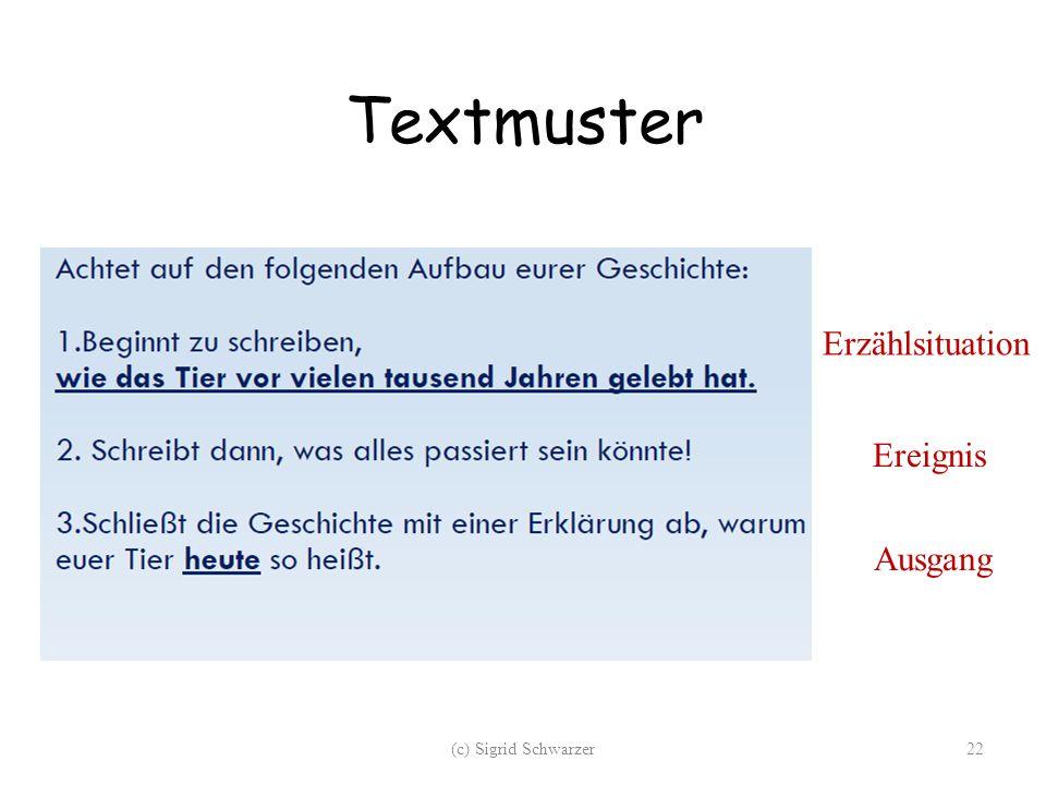 Textmuster Erzählsituation Ereignis Ausgang (c) Sigrid Schwarzer22