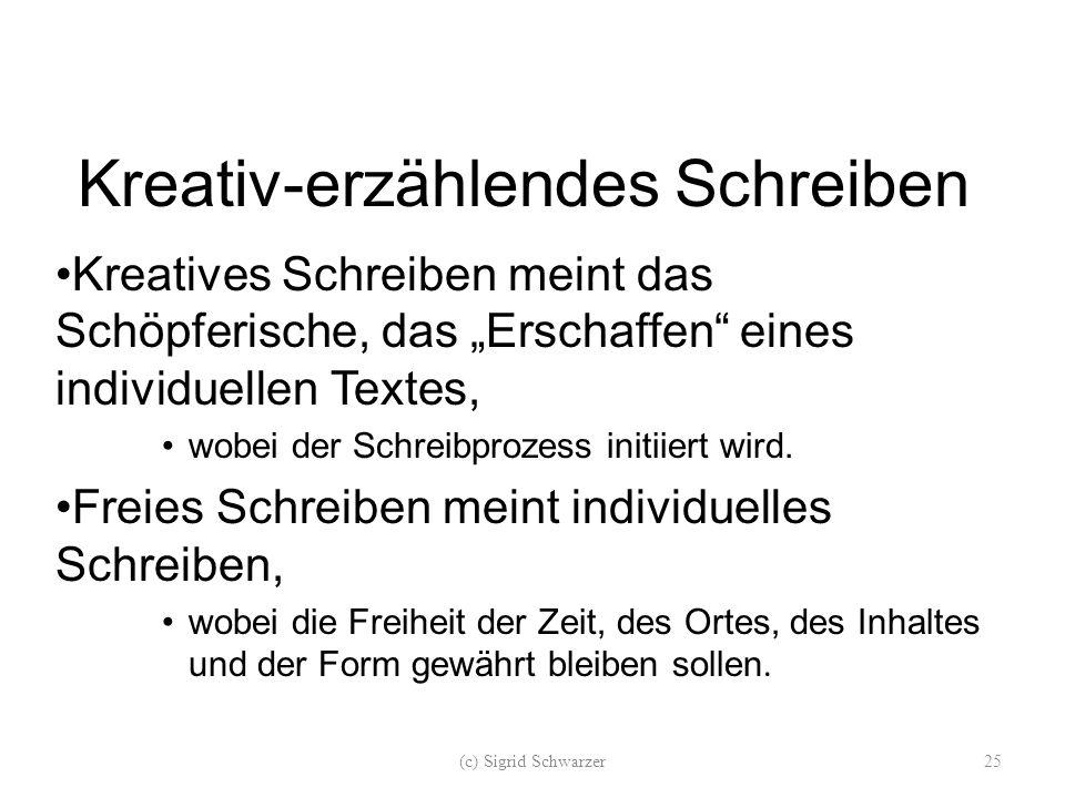 """Kreativ-erzählendes Schreiben Kreatives Schreiben meint das Schöpferische, das """"Erschaffen eines individuellen Textes, wobei der Schreibprozess initiiert wird."""