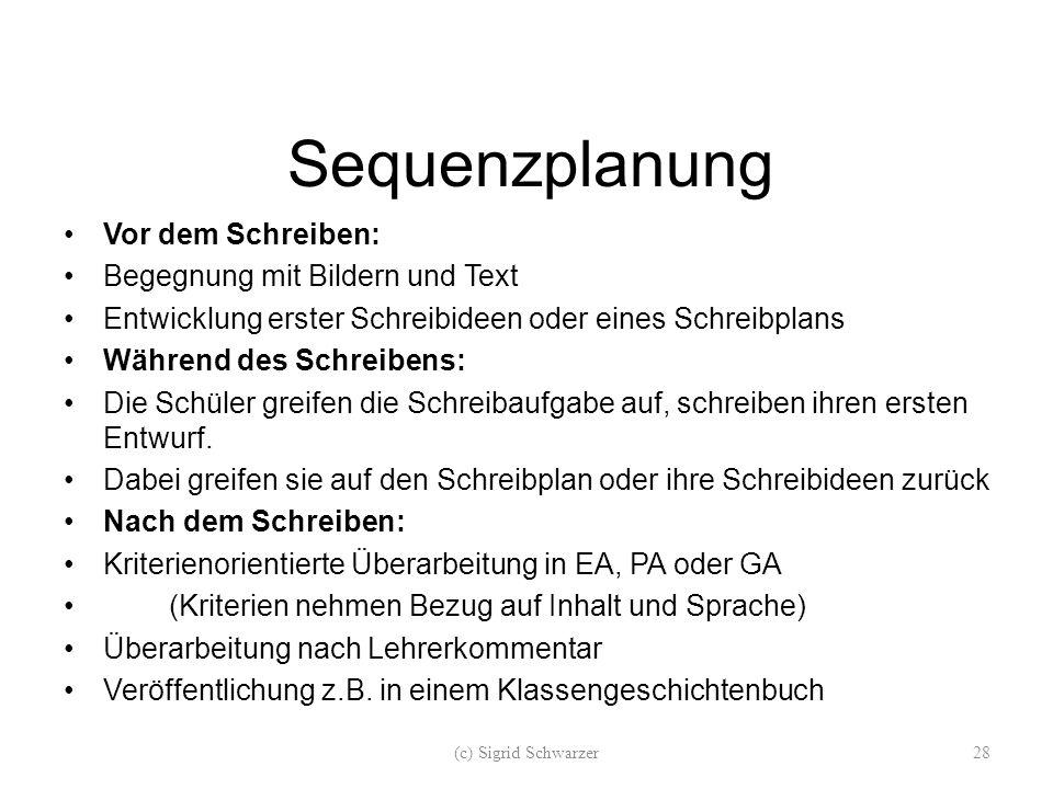 Sequenzplanung Vor dem Schreiben: Begegnung mit Bildern und Text Entwicklung erster Schreibideen oder eines Schreibplans Während des Schreibens: Die S