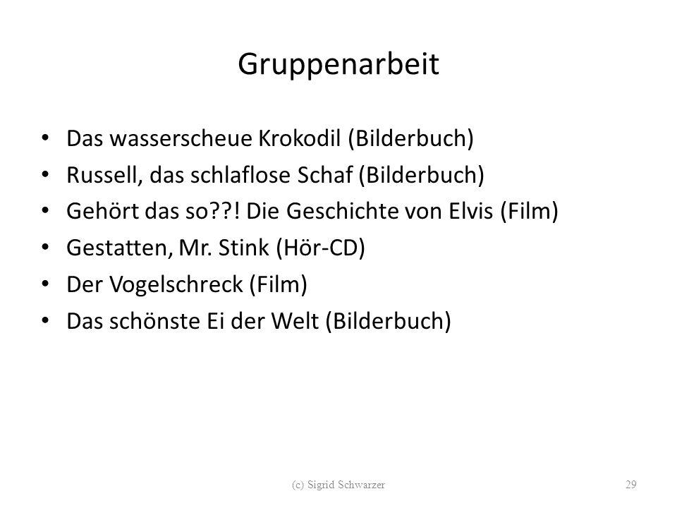 Gruppenarbeit Das wasserscheue Krokodil (Bilderbuch) Russell, das schlaflose Schaf (Bilderbuch) Gehört das so??! Die Geschichte von Elvis (Film) Gesta