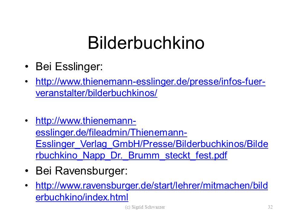 Bilderbuchkino Bei Esslinger: http://www.thienemann-esslinger.de/presse/infos-fuer- veranstalter/bilderbuchkinos/http://www.thienemann-esslinger.de/presse/infos-fuer- veranstalter/bilderbuchkinos/ http://www.thienemann- esslinger.de/fileadmin/Thienemann- Esslinger_Verlag_GmbH/Presse/Bilderbuchkinos/Bilde rbuchkino_Napp_Dr._Brumm_steckt_fest.pdfhttp://www.thienemann- esslinger.de/fileadmin/Thienemann- Esslinger_Verlag_GmbH/Presse/Bilderbuchkinos/Bilde rbuchkino_Napp_Dr._Brumm_steckt_fest.pdf Bei Ravensburger: http://www.ravensburger.de/start/lehrer/mitmachen/bild erbuchkino/index.htmlhttp://www.ravensburger.de/start/lehrer/mitmachen/bild erbuchkino/index.html (c) Sigrid Schwarzer32