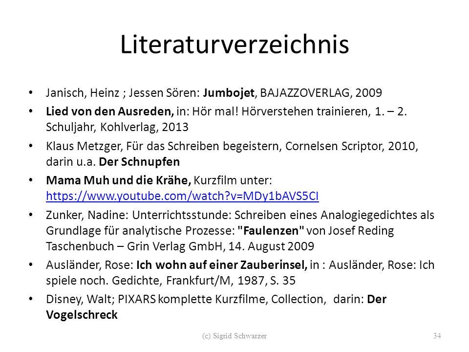 Literaturverzeichnis Janisch, Heinz ; Jessen Sören: Jumbojet, BAJAZZOVERLAG, 2009 Lied von den Ausreden, in: Hör mal! Hörverstehen trainieren, 1. – 2.