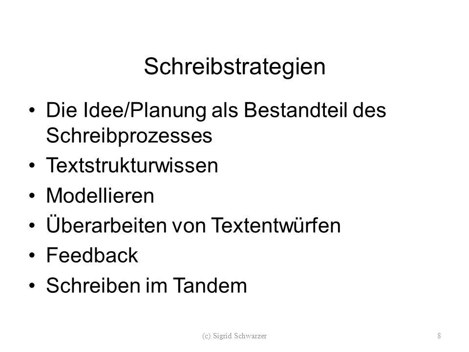 Schreibstrategien Die Idee/Planung als Bestandteil des Schreibprozesses Textstrukturwissen Modellieren Überarbeiten von Textentwürfen Feedback Schreiben im Tandem (c) Sigrid Schwarzer8