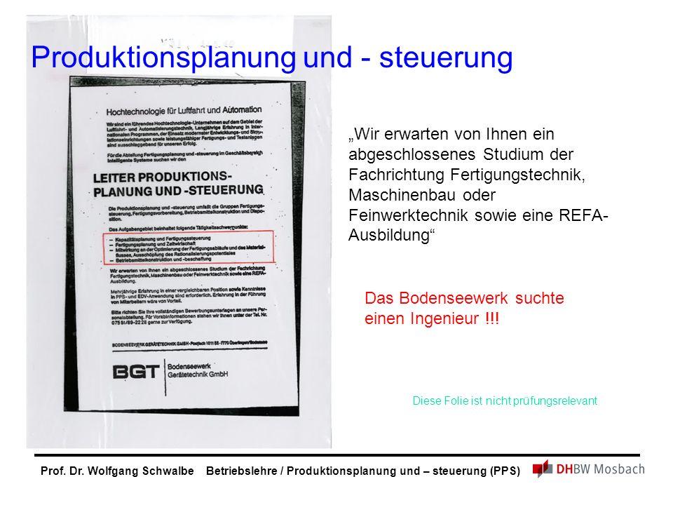 """Prof. Dr. Wolfgang Schwalbe Betriebslehre / Produktionsplanung und – steuerung (PPS) """"Wir erwarten von Ihnen ein abgeschlossenes Studium der Fachricht"""