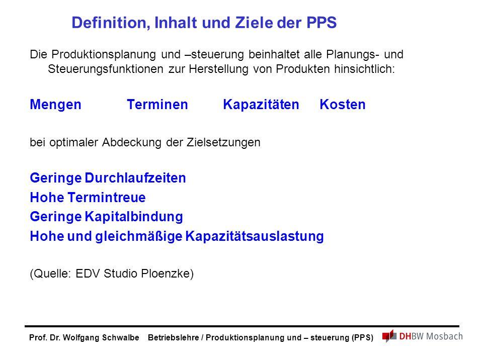 Prof. Dr. Wolfgang Schwalbe Betriebslehre / Produktionsplanung und – steuerung (PPS) Definition, Inhalt und Ziele der PPS Die Produktionsplanung und –