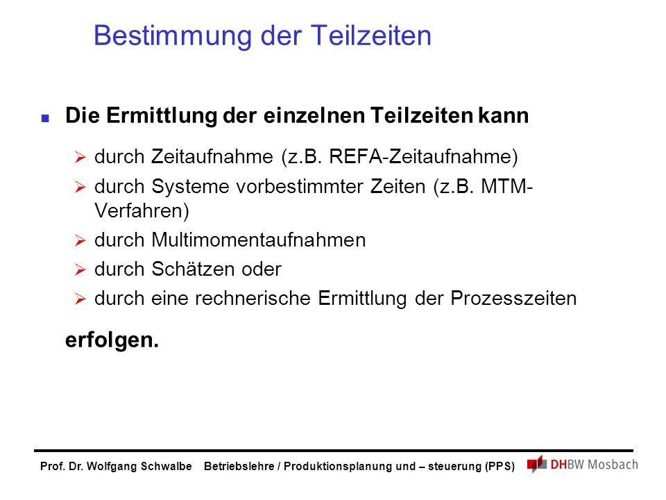 Bestimmung der Teilzeiten Die Ermittlung der einzelnen Teilzeiten kann  durch Zeitaufnahme (z.B. REFA-Zeitaufnahme)  durch Systeme vorbestimmter Zei