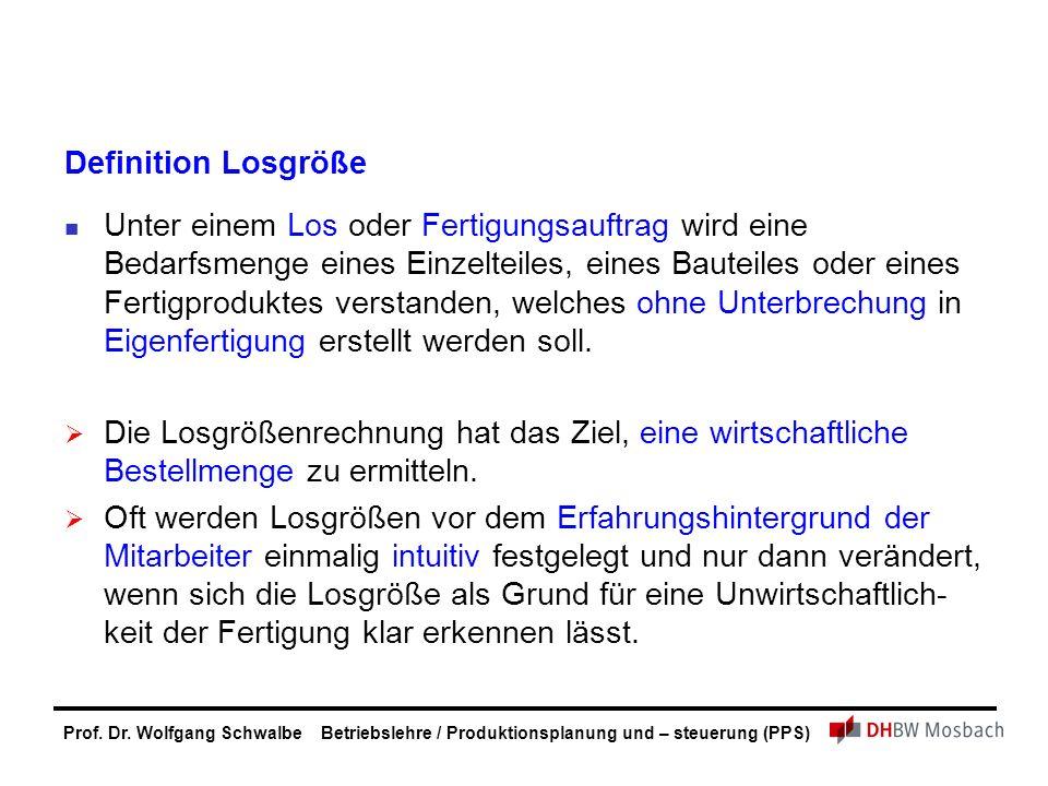 Prof. Dr. Wolfgang Schwalbe Betriebslehre / Produktionsplanung und – steuerung (PPS) Definition Losgröße Unter einem Los oder Fertigungsauftrag wird e