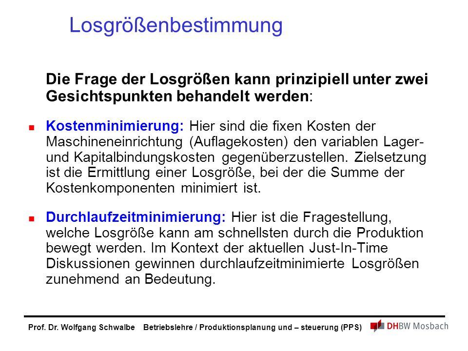 Prof. Dr. Wolfgang Schwalbe Betriebslehre / Produktionsplanung und – steuerung (PPS) Losgrößenbestimmung Die Frage der Losgrößen kann prinzipiell unte