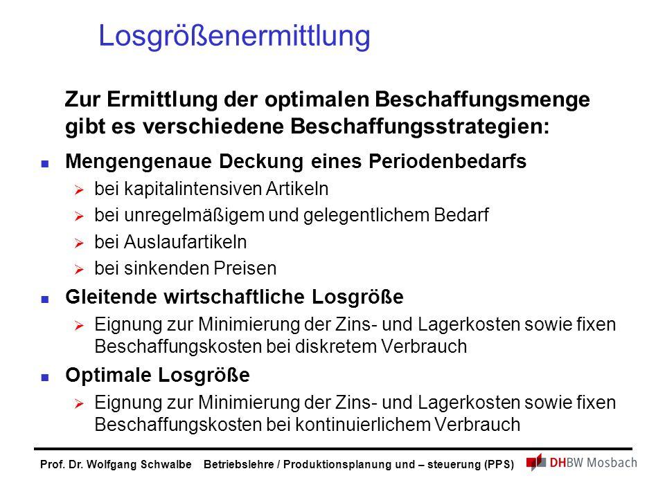 Prof. Dr. Wolfgang Schwalbe Betriebslehre / Produktionsplanung und – steuerung (PPS) Losgrößenermittlung Zur Ermittlung der optimalen Beschaffungsmeng